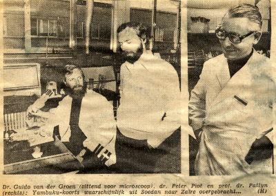 Van der Groen, Piot and their boss, Prof. Pattyn (1976)
