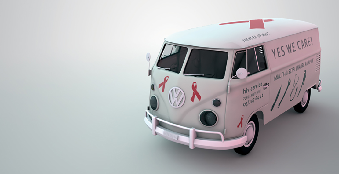 picture of a Volkswagencar van with text and the Red-ribbon logo of the Hiv-solidarity