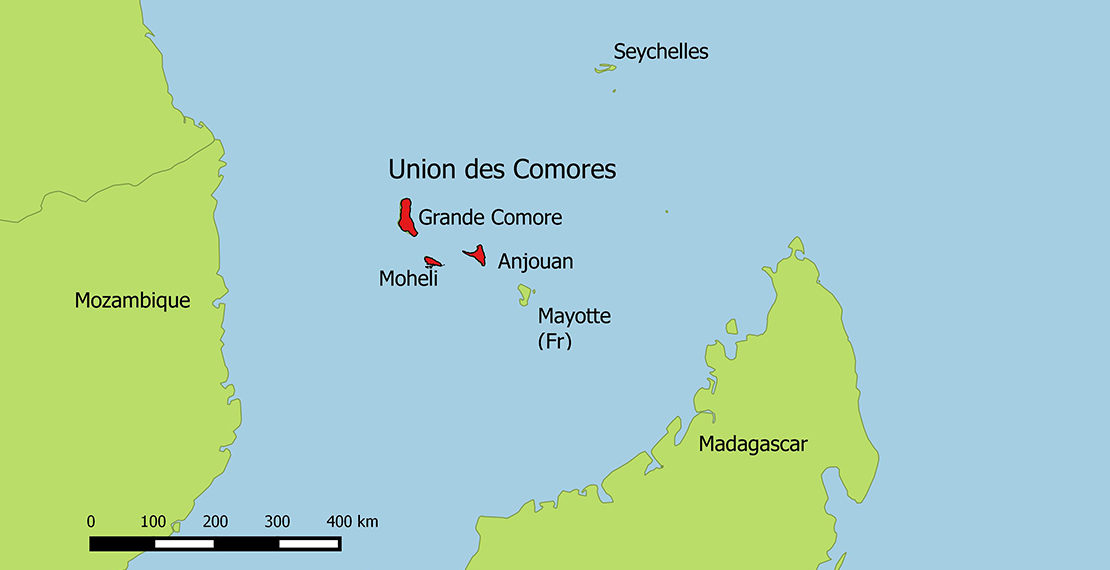 a map of the Comoros Islands
