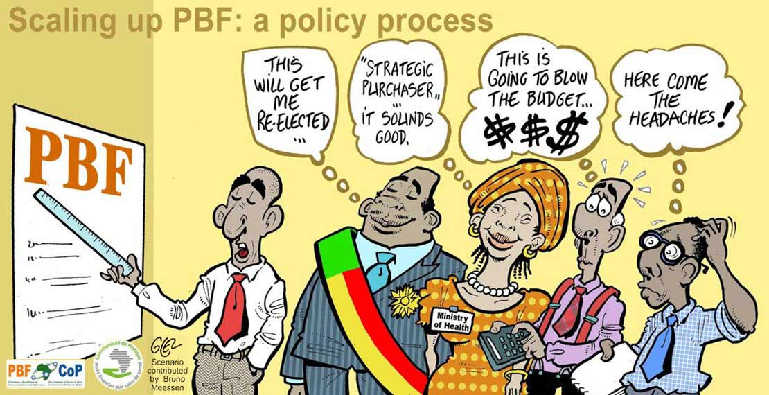 Cartoon illustrating the challenges of scaling up PBF programmes