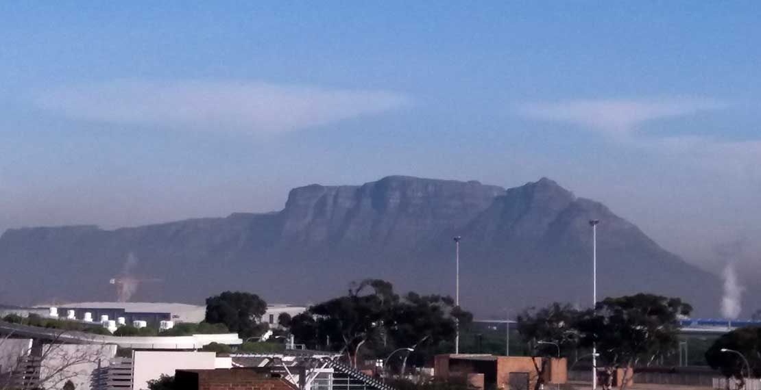 View from the upper floor of the School of Public Health (SOPH) at the University of the Western Cape