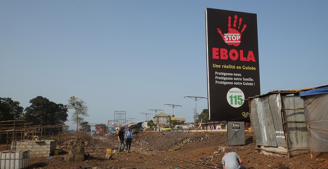 Ebola information sign in Africa