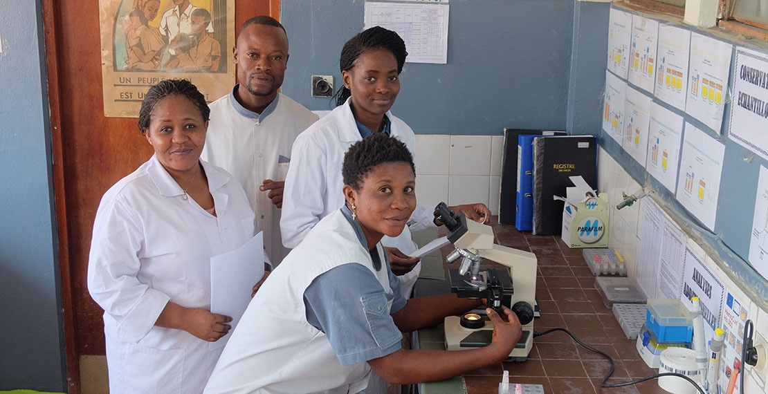 Local team in a hospital laboratory in DRC