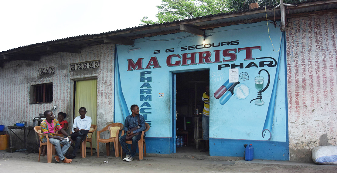 Study interviewers at a local private pharmacy in Mbuba, DRC