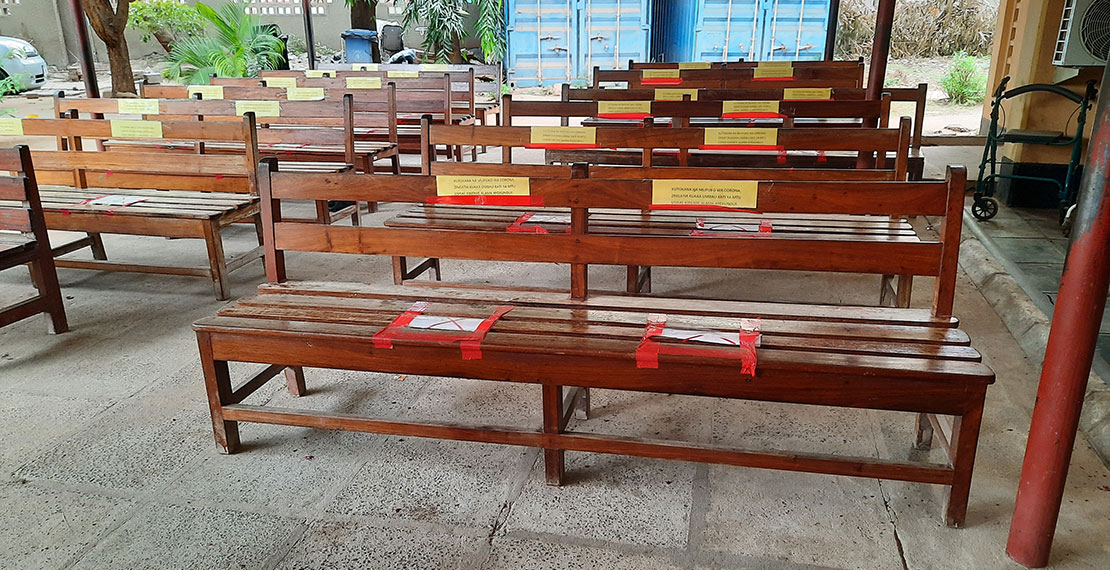 ANC waiting area with marks on the benches on where not to sit